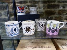 FOUR WEDGWOOD COMMEMORATIVE TANKARDS AND TWO OTHERS TO INCLUDE THE ERIC RAVILIOUS 1953 DESIGN