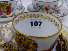 A 19th.C. NEWHALL COFFEE CAN AND SAUCER PAINTED WITH A CHINOISERIE LANDSCAPE, A NEWHALL TEACUP AND