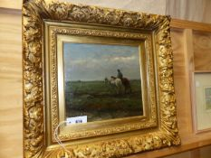 BERNARD DE HOOG (1866-1963) HOMEWARD BOUND. SIGNED OIL ON PANEL. 29 x 30cms.