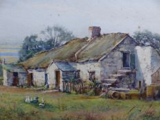 LINNIE WATT (1875-1908) A RUSTIC THATCHED COTTAGE. SIGNED WATERCOLOUR. 25 x 35cms.