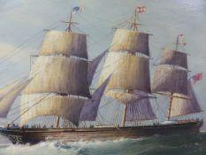 ENGLISH SCHOOL. CLIPPER SHIP OFF A HEADLAND, OIL ON BOARD. 30 x 50cms.