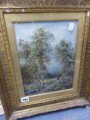 ALBERT GYNGELL (1866-1949) A WELSH SCENE OF SILVER BIRCHES. SIGNED, OIL ON BOARD. 29.5 x 22.5cms.