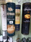 WHISKEY, FOUR BOTTLES TO INCLUDE SPEYSIDE, SPEYBURN, GLENMORANGIE AND CLYNELISH, ALL BOXED.