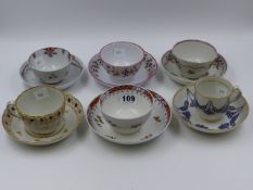 FOUR VARIOUS NEWHALL TEA BOWLS AND SAUCERS, A NEWHALL TEACUP AND SAUCER WITH BLUE AND GILT GARLAND