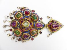 A LARGE QAJAR POLYCHROME ENAMELLED AND GEM-SET GOLD PENDANT, PERSIA 19th.C. APPROXIMATE