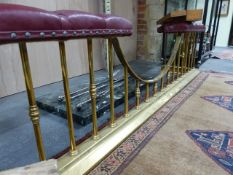 A GOOD QUALITY HEAVY BRASS CLUB FENDER WITH BUTTON LEATHER SEAT