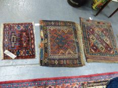THREE ANTIQUE PERSIAN TRIBAL BAG FACES. LARGEST 81 x 62cms. (2)