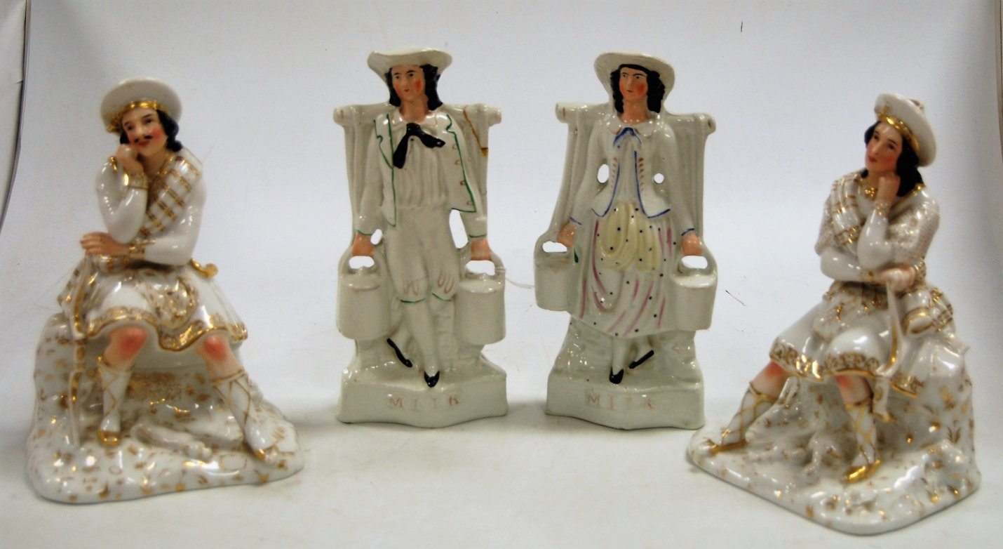 Lot 18 - A pair of Victorian Staffordshire flatback figures of milkmaids, h.