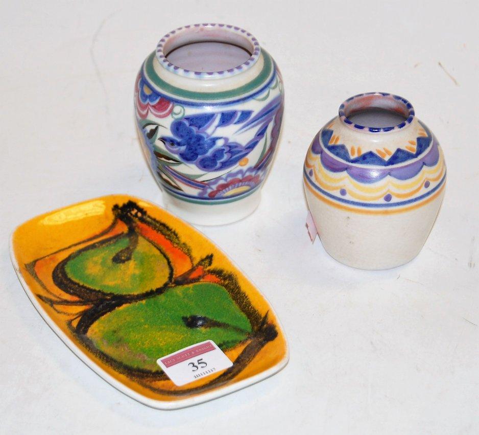 Lot 35 - A Poole pottery Aegean pattern pin tray,