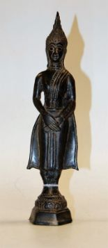 Lot 1 - A 20th century lead figure of a Thai goddess in standing pose, h.