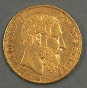 """Belgien 1874, 20.- Francs - Goldmünze """"Leopold II."""". 900er Gold. Gewicht: 6,47 g. Erhaltung: vz."""