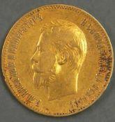 "Russland 1901, 10.- Rubel - Goldmünze, ""Nikolaus II."". Erhaltung: ss. Russia 1901, 10.- ruble - gold"