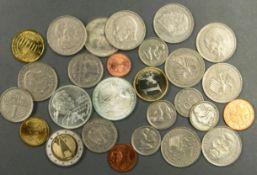BRD, Münzlot, bestehend aus: 1 Eurosatz BRD von 2002, 2 x 5.- DM, 10 x 2.- DM, 3 x 1.- DM und 5 x 50