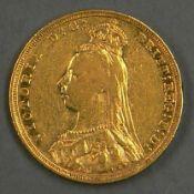 """Großbritannien 1892, 1 Pfund - Goldmünze """"Victoria Jubilee"""". Gewicht: 7,9 g (7,24 g fein)."""