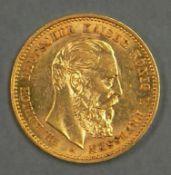 """Deutsches Kaiserreich Preußen 1888, 10.- Mark - Goldmünze """"Friedrich III."""". Erhaltung: vz. German"""