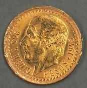 Mexiko 1945, 2 1/2 Peso - Goldmünze. Gewicht: ca. 2,2 g. Mexico 1945, 2 1/2 peso - gold coin.