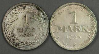 Deutsches Reich 1924/25, 1 Mark 1924 F, vz und 1 Reichsmark 1925 A, ss. German Empire 1924/25, 1