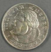 """Deutsches Reich 1933, 2.- Reichsmark """"Martin Luther"""". Jaeger 352. Erhaltung: ss. German Empire 1933,"""