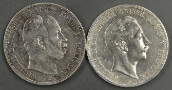 Deutsches Kaiserreich Preußen 1876/1907, 2 x 5.- Mark - Silbermünzen, 1 x 1876 A und 1 x 1907 A.