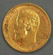 """Russland 1899, 5.- Rubel - Goldmünze """"Nikolaus II:"""". Gewicht: ca. 3,87 g fein. Erhaltung: ss - vz."""