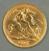 Großbritannien 1901, 1/2 Sovereign - Goldmünze. Gewicht: ca. 3,99 g (Feingewicht: 3,65 g).Erhaltung: