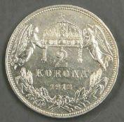 Österreich 1913, 2 Korona, unzirkuliert. Austria 1913, 2 corona, uncirculated.