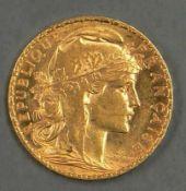 Frankreich 1906, 20.- Francs - Goldmünze. Gad 1064. Gold 900. Gewicht: ca. 6,45 g. Erhaltung: vz.