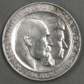 """Deutsches Kaiserreich Württemberg 1911 F. 3 Mark - Silbermünze. """"Wilhelm und Charlotte"""". Jaeger:"""