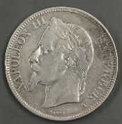 "Frankreich 1870 A, 5.- Francs - Silbermünze ""Napoleon III."". Erhaltung: ss. France 1870 A, 5.-"