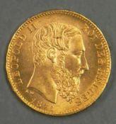 """Belgien 1875, 20.- Francs - Goldmünze """"Leopold II."""". 900er Gold. Gewicht: 6,47 g. Erhaltung: vz."""