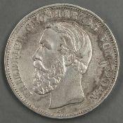 Deutsches Kaiserreich Baden 1893 G, 5.- Mark - Silbermünze. Jaeger: 29. Erhaltung: s - teilweise