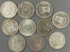 """Niederlande, Münzlot, bestehend aus: 10 x 1.- Gulden """"Wilhemina"""": 1 x 1905, 2 x 1922, 1 x 1938, 1"""