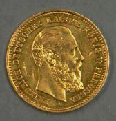 """Deutsches Kaiserreich Preußen 1888, 10.- Mark - Goldmünze """"Friedrich III."""". Erhaltung: ss. German"""