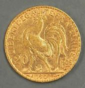 Frankreich 1907, 20.- Francs - Goldmünze. Gold 900. Gewicht: ca. 6,49 g. Erhaltung: vz. France 1907,