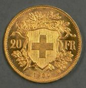 Schweiz 1930 B, 20.- Franken - Goldmünze. Divo: 293. Erhaltung: vz - stgl. Switzerland 1930 B,