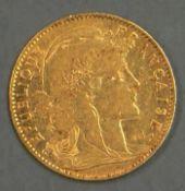 Frankreich 1901, 10.- Francs - Goldmünze. Gewicht: ca. 3,3 g fein. Erhaltung: ss. France 1901,