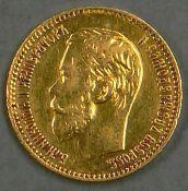 """Russland 1898, 5 Rubel - Goldmünze """"Nikolaus II."""". 3,87g fein. Erhaltung: ss-vz. Russia 1898, 5"""