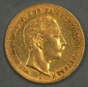 """Deutsches Kaiserreich Preußen 1906, 10.- Mark - Goldmünze """"Wilhelm II:"""". Erhaltung: vz. German"""