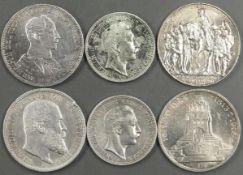 Deutsches Kaiserreich, Münzlot mit 2 x 2.- Mark - Münzen und 4 x 3.- Mark - Münzen. Erhaltung: