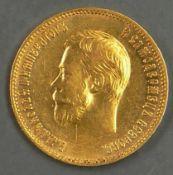 """Russland 1903, 10 Rubel - Goldmünze """"Nikolaus II."""". 7,74 g fein. Erhaltung: vz. Russia 1903, 10"""