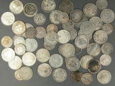 Deutsches Kaiserreich, Münzlot, bestehend aus 34 x 1.- Mark - Silbermünzen und 25 x 1/2 Mark -
