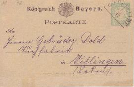 Bayern 1876-78, Postkarte P 8 mit Stempel 11 b Griebelstadt Ufr.. 45 Helbig - Punkte. Bavaria 1876-