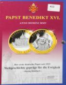 """Medaillensatz """"Papst Benedikt XVI"""", insgesamt 10 Medaillen, limitiert auf 5000 Stück."""