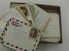1 kleiner Karton voll Briefe, meist Frankreich. Große Vielfalt, mit meist nur Sonderstempel.