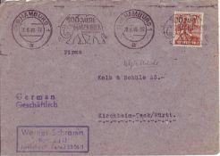 Bi - Zone 1948, Bedarfsbrief. 24 Pf. - 22 Uhr: letzte Stunde. 20.6.1948. Bi - Zone 1948 demand