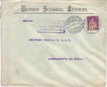 Schweiz 1915, Mi.-Nr. 108 auf Beleg. Gelaufen von Zürich nach Ludwigshafen. Zensiert von