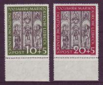 BRD 1951, Mi. - Nr. 139 - 140 mit Unterrand. Nr. 140 mit Plattenfehler I. FRG 1951, Michel number