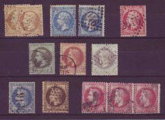 Frankreich 1862, Lot der Ausgaben Napoleon III., dabei auch Mi.-Nr. 31 im 3er - Streifen. Dieser
