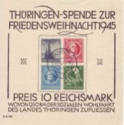 SBZ Thüringen 1945, Block 2 t Type 4. Gestempelt. Senkrechter Bug. SBZ Thuringia 1945, Block 2 t