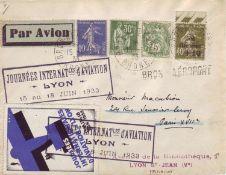 """Frankreich 1933, Ersttagsbrief mit MeF u.a. mit Mi.-Nr. 264 """"Staatsschuldentilgungskasse"""" auf Brief."""